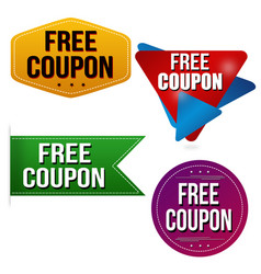 Free coupon sticker or label set vector