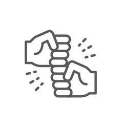 Friendly gestures joyous punches line icon vector