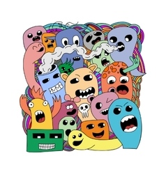 Funny cartoon monsters card vector