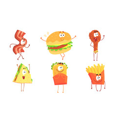 funny fast food collection ham slice burger vector image