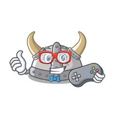Gamer viking helmet toys on mascot table vector