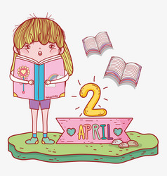 Girl read books information to literature day vector