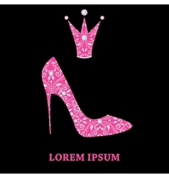 Glamour design elements of magenta shoe and crown vector