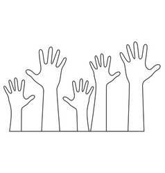 hands one line drawing vector image