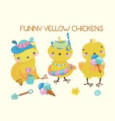 happy cute baby chickens vector image
