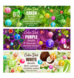 healthcare color diet banner with natural vitamins vector image