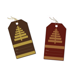 herringbone knitted on a brown tag vector image