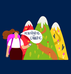 hiking background mountains and girl vector image