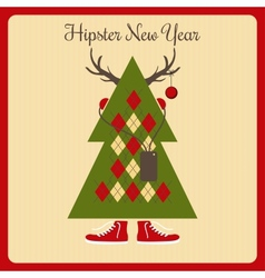Hipster a Christmas tree with accessories vector
