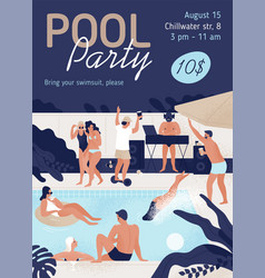 Invitation template pool party with place for vector