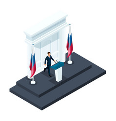isometry male presidential candidate speaking vector image