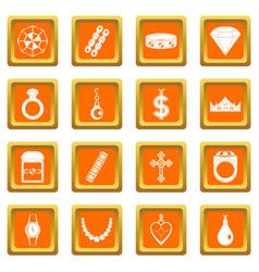 Jewelry items icons set orange vector