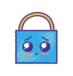 kawaii cute tender padlock security vector image
