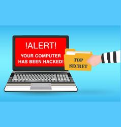 Laptop computer hacked and stolen data hacker vector
