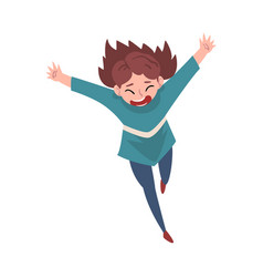 laughing girl running with arms outstretched vector image