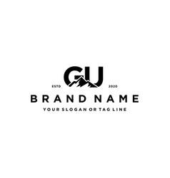 Letter gu mountain logo design vector