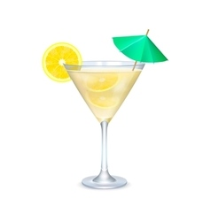 Martini glass with cocktail with lime and umbrella vector