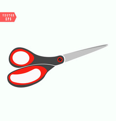 metal scissors with plastic rim of red blue vector image