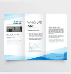 Minimal blue trifold brochure layout background vector