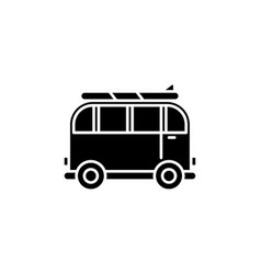 minivan for travel black icon sign on vector image