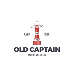 Nautical logo design icon Old captain emblem with vector