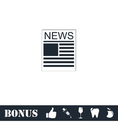 Newspaper icon flat vector