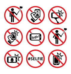 No selfies no selfie sticks signs vector image