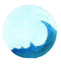 ocean wave with blue sky banner watercolor vector image