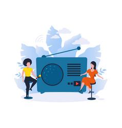 Online radio podcast women recording interview vector
