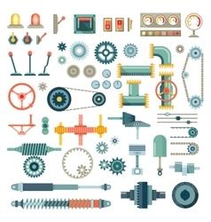 Parts machinery flat icons set vector