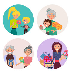 people exchange presents on holiday collection vector image