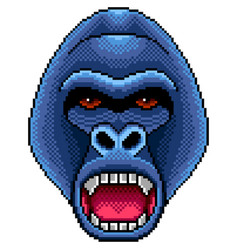 pixel angry gorilla portrait detailed isolated vector image