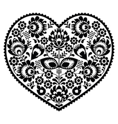 Polish black folk art heart pattern on white - wzo vector image