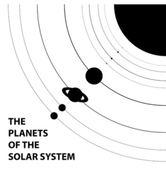 Poster of the planets of the solar system - vector