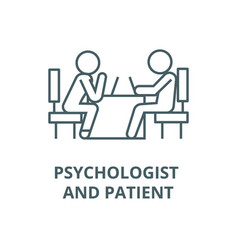 psychologist and patient line icon linear vector image