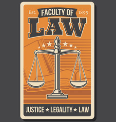 retro poster juridical justice school law faculty vector image