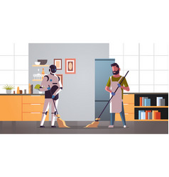 Robotic janitor with man cleaner sweeping and vector