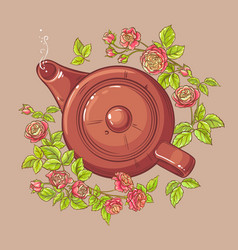 rose tea in teapot vector image