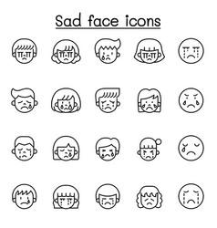 Sad face line icon vector