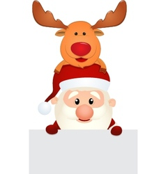 Santa Claus and Reindeer with blank sign vector image