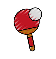 Scribble ping pong paddle and ball vector