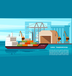 sea freight heavy tanker with vector image