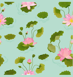 Seamless pattern with lotus flowers and leaves vector