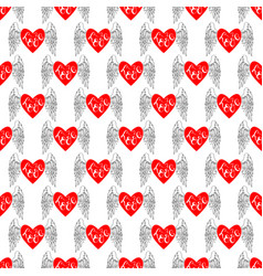seamless with hearts and wings vector image