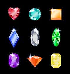 set gemstones different colors jewels for vector image