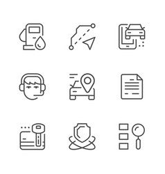 set line icons car rent vector image