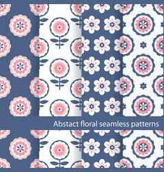 set of floral ethnic seamless patterns vector image