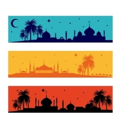 Set of horizontal islamic ramadan banners vector