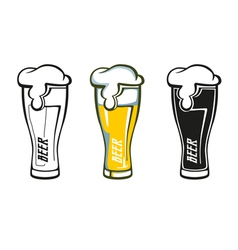 Set retro styled label beer glass vector