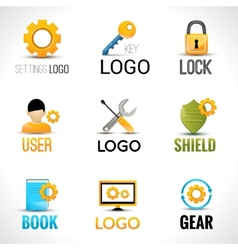 Settings logo set vector